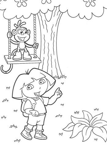 Desenhos Preto e Branco Dora a aventureira na selva para Colorir